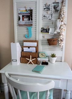 Shutters help cut clutter for office area---thinking Teens room, paint them lime green to work with her room. @Elizabeth Lockhart Lockhart Steward-Betts this would be great for your scrapbook/office table!