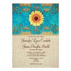 Teal Yellow Daisy Rustic Wedding Invitations on burlap print background #wedding #country #rustic