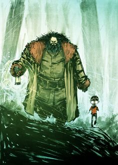 Hagrid and Harry by Skottie Young. Love his Wizard of Oz comics