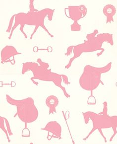 Gymkhana (HH00402) - Hibou Home Wallpapers - Perfect for horse mad little girls, a delightful motif designs with show jumping horses, saddles, helmets and rosettes.  Shown in coral pink on pale sand. Please request sample for true colour match.