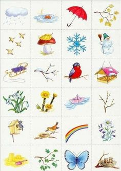 """I could make a memory/ association card game for the kids about """"Seasons""""/""""Weather"""", etc Spring Activities, Learning Activities, Kids Learning, Activities For Kids, Crafts For Kids, Weather For Kids, Bird Theme, Montessori Materials, Pictures To Draw"""