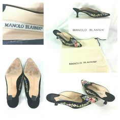 Manolo Blahnik suede embroidered heels size 6 Manolo Blahnik Putinamu Velukid suede embroidered heels/mules. Size 6. Flower design. Very good condition. Most of the wear is on the bottom soles. Comes with original box and dust bag.   Heel Height: 2 1/4 inches. Manolo Blahnik Shoes Mules & Clogs