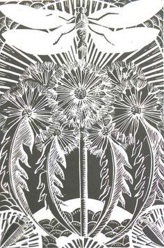 Dragonfly and Dandelions Lino Cut Prints by Amanda Colville, via Behance