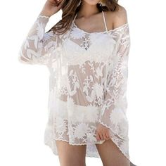 $12.97 Sexy Scoop Neck Long Sleeves Embroidered Cover-Up For Women