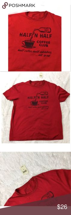Lucky Brand Half & Half Coffee Club Red t shirt XL NWT Lucky Brand Half & Half Coffee  Club Red t shirt mens Adult Size XL   Please see pictures for full details BRAND NEW  ships fats and new!! Lucky Brand Shirts Tees - Short Sleeve