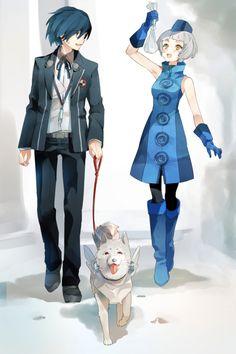 Male Protagonist (Persona 3) w/ Elizabeth and Koromaru