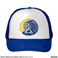 Native American Indian chief Trucker Hat. Trucker hat with an illustration of a native American Indian chief facing side view set inside circle done in retro style. #nativeamerican #indian #truckerhat