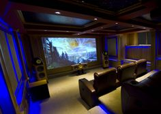B&W Nautilus home theatre cellar - Great indirect blue lighting - by ET Home Cinema