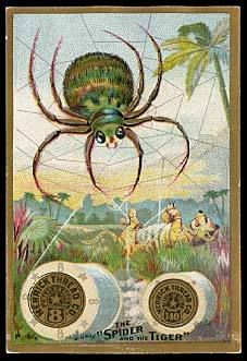 The tiger and the spider, trade card | more at http://www.pinterest.com/etsybluebird/vintage-needlework-images/