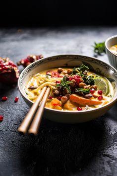 "Thai Pumpkin Laksa with Crunchy ""Fried"" Chickpeas | halfbakedharvest.com @hbharvest"