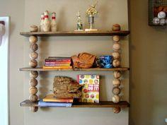 Love the idea of using baseballs or could even use baseball bats as a shelf. baseball room