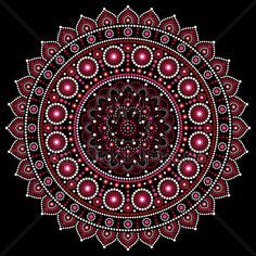 Mandalas Dot Pattern In Red And Pink Inspired B...