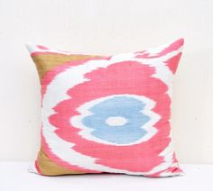 Ikat pillow cover Silk cotton ikat by EasternHomeDecor on Etsy, $19.50