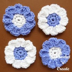 A cute 2 color flower motif, if you've got a project on the go add some of these to give it some style. Simple, quick and easy .......................