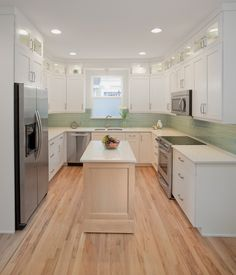 Enchanting Design For Kitchen Appliance Trend Decorating Ideas : Casual Small Kitchen Galley Decoration Using Kitchen Appliance Trend With White Wood Kitchen Cabinet Along With Light Green Tile Kitchen Backsplash And Light Birch Wood Kitchen Flooring