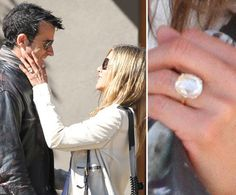 The Most Beautiful Celebrity Engagement Rings of 2012: Jennifer Aniston debuted her engagement ring from Justin Theroux during an October weekend in Santa Fe, after the couple confirmed their engagement in August.