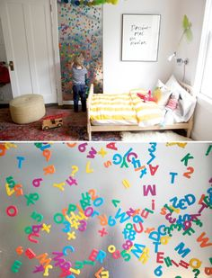 DIY Magnetic Wall.   great for letters & #'s but i think it would be great to put items on their that they can build a house , fence , barn, animals , flowers, people, trucks, cars, etc.