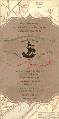 Pirate party invitation shiver me timbers 250 via etsy pirate party invitation plus a bunch of cool pirate themed party ideas jake and the stopboris Choice Image