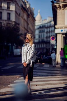 Rebecca Laurey, Fashion Blogger, in Ibiza Spain wearing The LUDLOW MOTOR JACKET in White. #west14th www.w14th.com