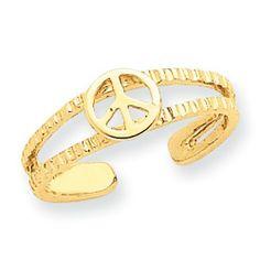 14k Gold Peace Sign Toe Ring goldia. $78.80