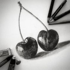 Drawing of cherries made by Sanskriti Ag in graphite pencils.