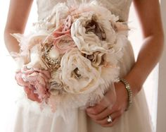 Fabric Brooch Bouquet, Fabric Flower Wedding Bouquet, with rhinestone and pearl brooches, silk blush flowers