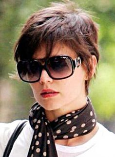 Katie Holmes' Textured Square Pixie Hair Cut. Learn how to cut this classic women's short hairstyle on MHDPro. Start your course today.