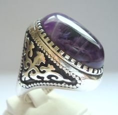 925 Sterling Silver Men's Ring with Huge Amethyst Handmade Beautiful Colour RESERVED FOR ANNA