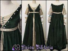 Green Velvet Italian Renaissance Gown by DaisyViktoria.deviantart.com on @deviantART