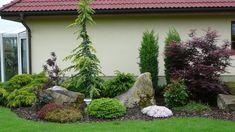 Zahrady a fasáda - Album uživatelky baraz Front House Landscaping, Front Garden Landscape, Privacy Landscaping, Outdoor Landscaping, Lawn And Garden, Landscape Design, Rock Garden Design, Evergreen Garden, Gardening