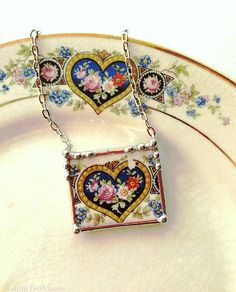 Broken china jewelry necklace antique heart with rose floral china