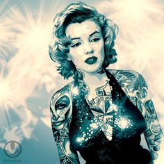 This work grew out of a photographic portrait by Richard Avedon, I figured this facet of Marilyn which I call: Irony Author: Marco Fernando Torres Bermeo (MXRCOFER) Colombia Marilyn Monroe Tattoo, Marilyn Monroe Artwork, Marylin Monroe, Rockabilly, Minions, Divas, Photoshop, Chicano Art, Richard Avedon
