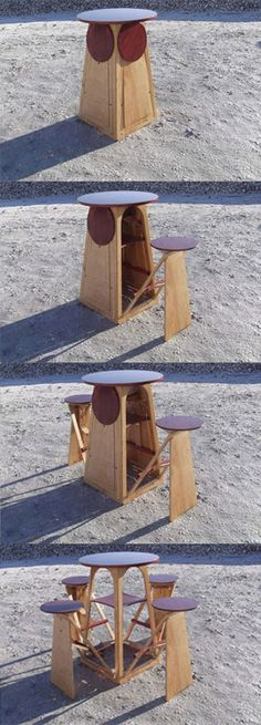 Expanding outdoor drinking table. how cool!