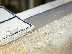 Haute Couture behind the scenes: the making of beaded embroidery embellishments for a couture dress; fashion atelier; dressmaking // Lesage, Chanel
