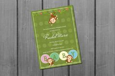 Monkey Baby Shower Invitation Card Printable by NorthernDesigns