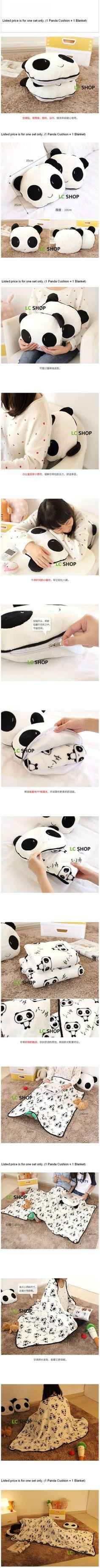 panda cushion + fleece set