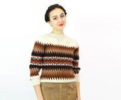 géométriques des années 70 le chandail de laine XS/S  par OmniaVTG