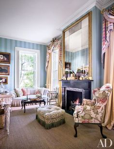With brilliant chintz, a snappy palette, and heirlooms galore, decorator Mario Buatta puts his joyous stamp on the living room of this spectacular 1850s South Carolina mansion | http://archdigest.com