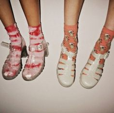 Socks in jellies shoes #JellyShoesOutfit