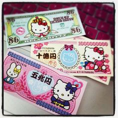 Hello Kitty Money Note Pad   Super cute.