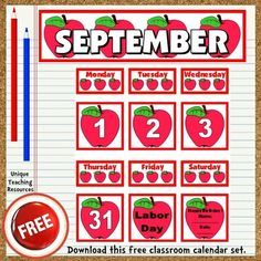 Download a FREE September classroom calendar set to display on your bulletin board.  These free calendar pieces fit perfectly inside pocket charts.  Be sure to download all 12 of the FREE January – December classroom calendars that are available on Unique Teaching Resources.