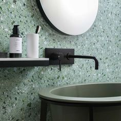 Spruce up your bathroom with our Artwork porcelain tiles.⠀⠀⠀⠀⠀⠀⠀⠀⠀ Wall Mount Faucet, Apartment Renovation, Black Walls, Stone Tiles, Slate, Color Pop, Kitchen Design, Sink, Interior Design