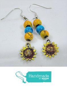 Handpainted Beaded Sunflower Charm Earrings from Jooniebeads Treasures https://www.amazon.com/dp/B01NBDZW97/ref=hnd_sw_r_pi_dp_R1PpybBMVJR7T #handmadeatamazon