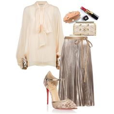 A fashion look from October 2016 featuring Chloé blouses, Valentino skirts and Christian Louboutin pumps. Browse and shop related looks.
