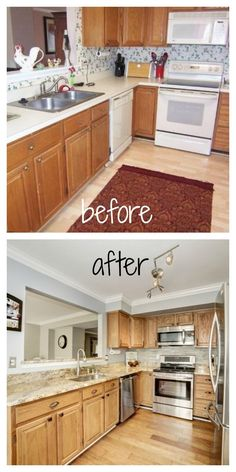 Loves the Find Blog.  Before and After DIY kitchen.  Wallpaper removal, paint, crown molding, light fixture, flooring, appliances, granite, stone backsplash.  Light brown cabinets with granite and grey walls