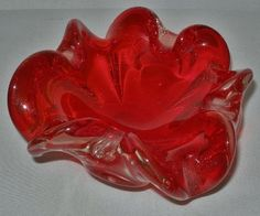 Incredible MURANO Floriform OUTSTANDING RED Vintage GLASS Bowl w/ ORIGINAL LABEL