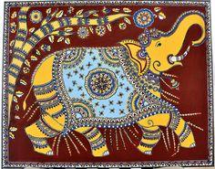 Indian Folk Fusion : Kalamkari and Madhubani Painting Title : Majestic