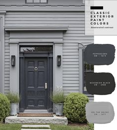 Exterior Paint Color Combinations - Room for Tuesday Exterior Gris, Exterior Gray Paint, Exterior Paint Colors For House, Paint Colors For Home, Exterior Design, Gray Exterior Houses, Black Trim Exterior House, Outside House Paint Colors, Painting House Exteriors