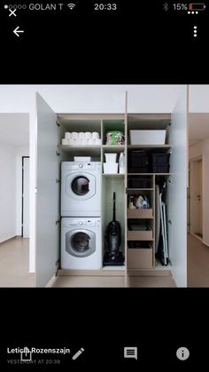 Broom closet area with designated vacuum nook and step-ladder nook. Small Utility Room, Utility Room Storage, Utility Room Designs, Laundry Room Organization, Tiny Laundry Rooms, Laundry Room Layouts, Laundry Room Remodel, Laundry In Bathroom, Mud Rooms