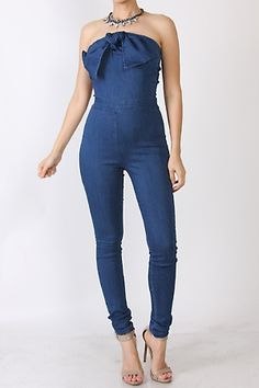 313530136ff Denim Bow Tie Fitted Jumpsuit
